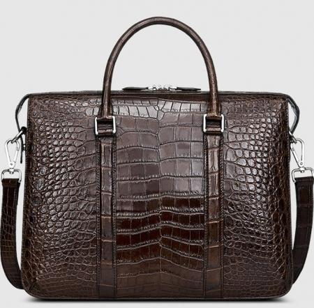 Mens Fashion Alligator Bag Alligator Business Briefcase-Brown-Front