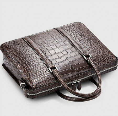 Mens Fashion Alligator Bag Alligator Business Briefcase-Brown-Top