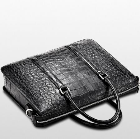 Mens Fashion Alligator Business Briefcase Alligator Bag-Black-Top