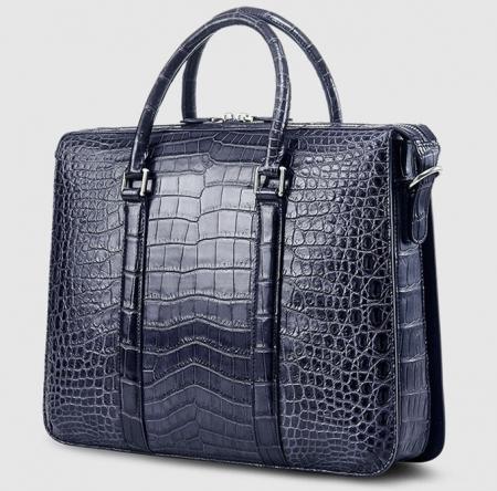 Mens Fashion Alligator Business Briefcase Alligator Bag-Blue-Back