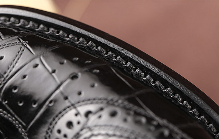 Men's Genuine Alligator Leather Oxford Business Dress Shoes-Details