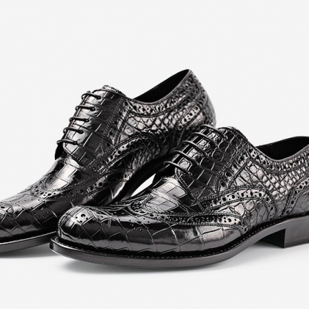 Men's Genuine Alligator Leather Oxford Business Dress Shoes-Exhibition