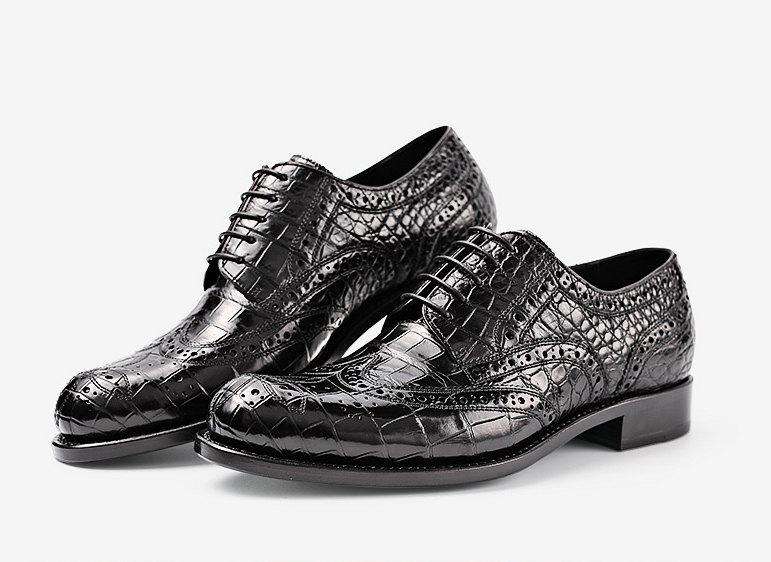 Men's Genuine Alligator Leather Oxford Business Dress Shoes