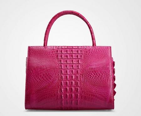 Rose Red Professional Genuine Crocodile Handbag-Back