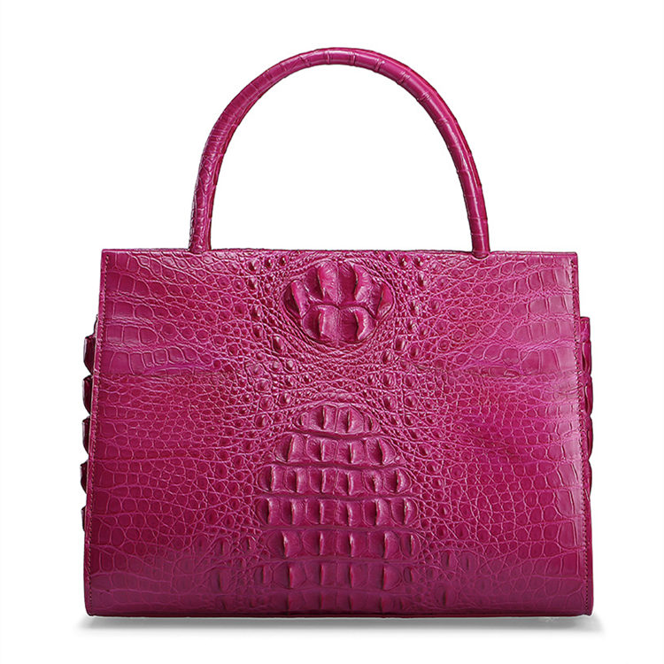 Rose Red Professional Genuine Crocodile Handbag-Front