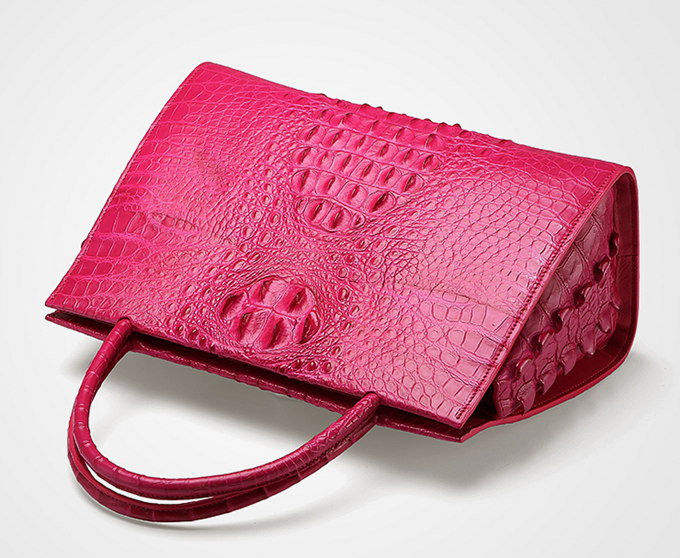 Rose Red Professional Genuine Crocodile Handbag-Top