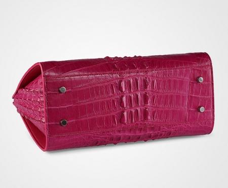Rose Red Professional Genuine Professional Handbag-Bottom