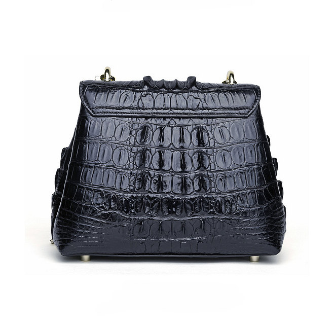 Stylish Alligator Evening Purse-Black-Back