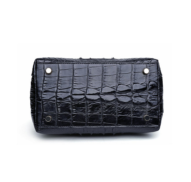Stylish Alligator Evening Purse-Black-Bottom