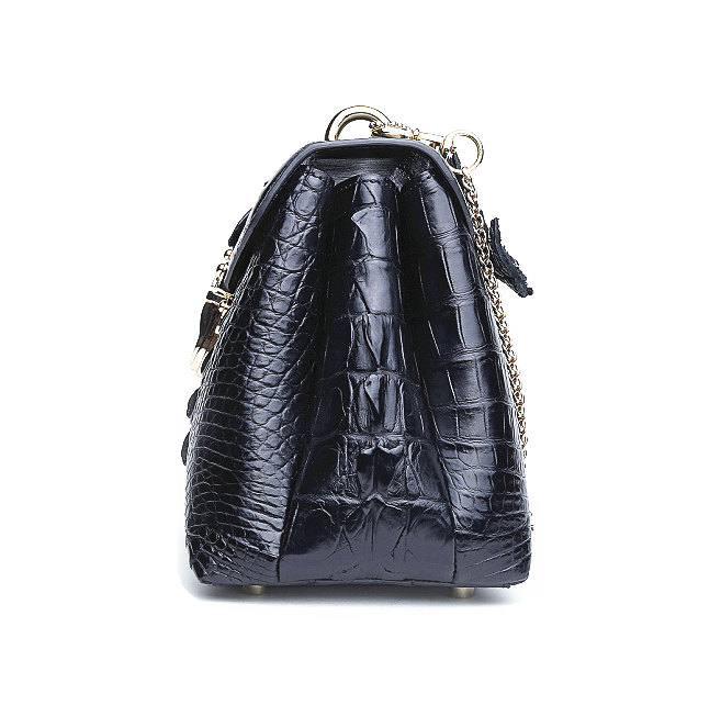 Stylish Alligator Evening Purse-Black-Side