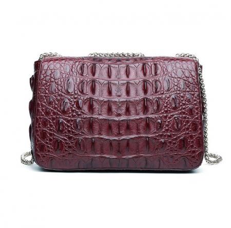 Stylish Alligator Purse, Small Alligator Crossbody Bag-Wine Red-Back