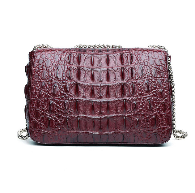 Stylish Alligator Purse, Small Alligator Crossbody Bag-Wine Red-Back