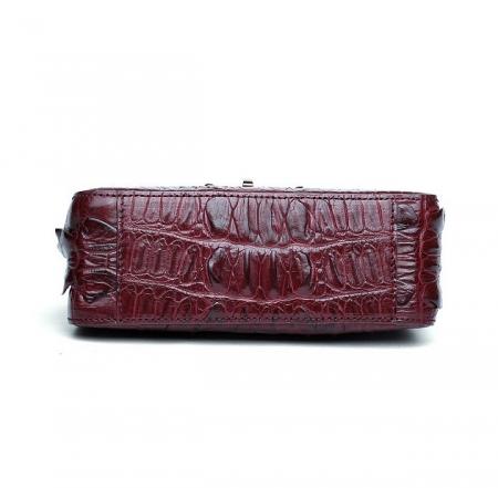 Stylish Alligator Purse, Small Alligator Crossbody Bag-Wine Red-Bottom