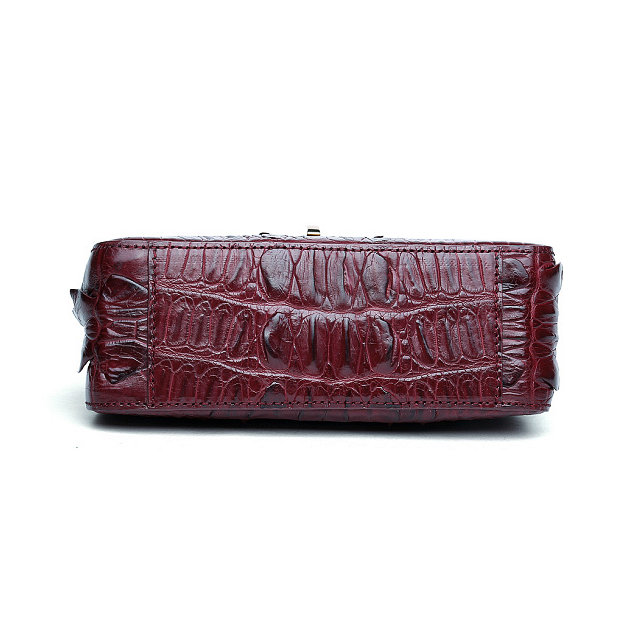 Stylish Alligator Purse, Small Alligator Crossbody Bag-Wine Red-Bottom