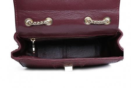 Stylish Alligator Purse, Small Alligator Crossbody Bag-Wine Red-Inside