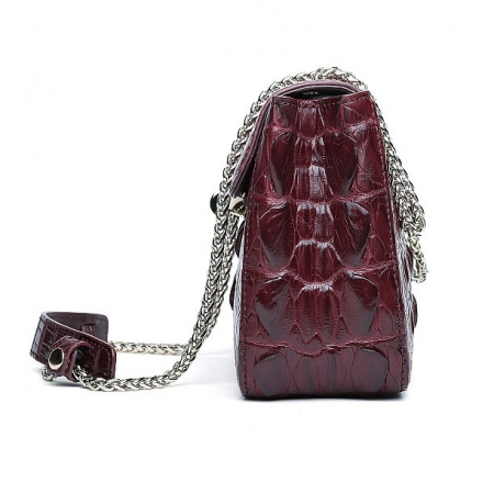 Stylish Alligator Purse, Small Alligator Crossbody Bag-Wine Red-Side