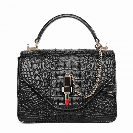 Stylish Crocodile Crossbody Handbag-Black