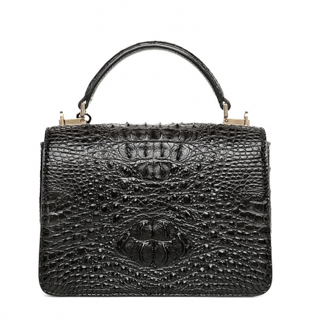 Stylish Crocodile Crossbody Handbag-Black-Back