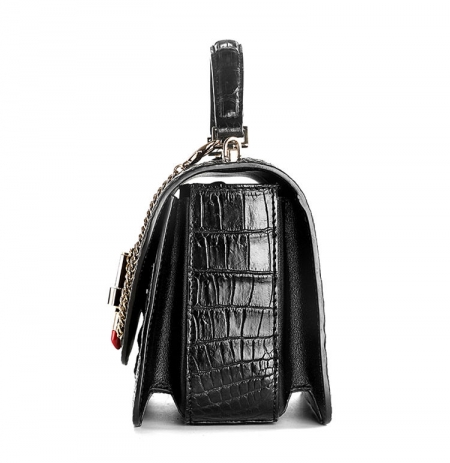 Stylish Crocodile Crossbody Handbag-Black-Side