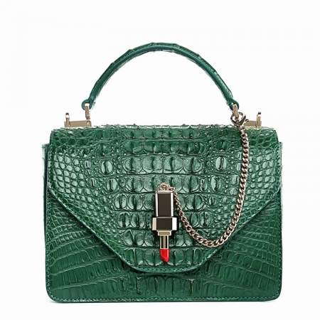 Stylish Crocodile Crossbody Handbag-Green