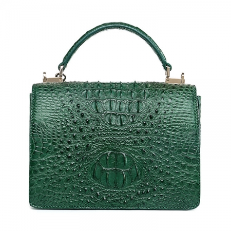Stylish Crocodile Crossbody Handbag-Green-Back