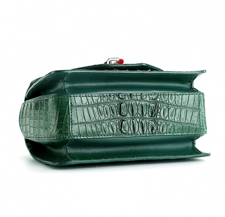 Stylish Crocodile Crossbody Handbag-Green-Bottom