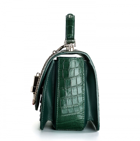 Stylish Crocodile Crossbody Handbag-Green-Side