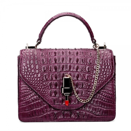 Stylish Crocodile Crossbody Handbag-Purple