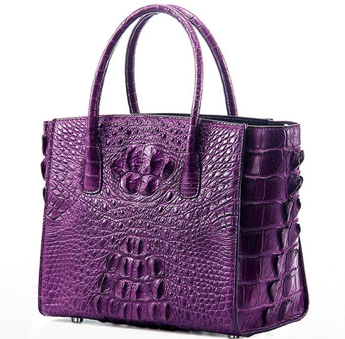 Stylish Crocodile Handbag, Crocodile Tote-Purple-1