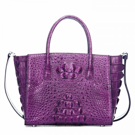 Stylish Crocodile Handbag, Crocodile Tote-Purple