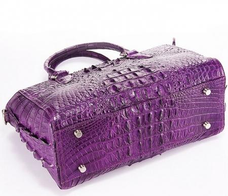 Stylish Crocodile Handbag, Crocodile Tote-Purple-Bottom