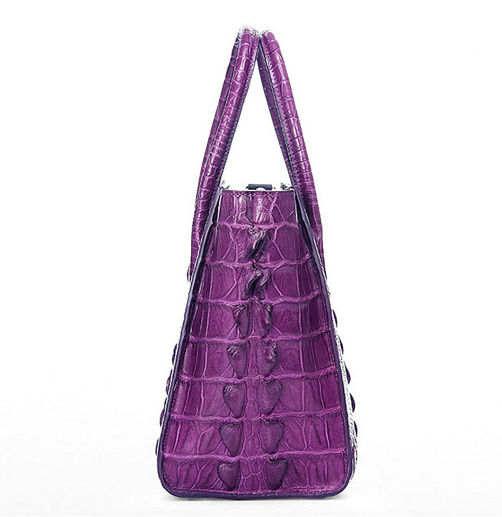 Stylish Crocodile Handbag, Crocodile Tote-Purple-Side