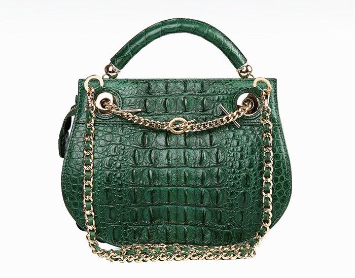 Stylish Crocodile Leather Evening Handbag-Blue-Back