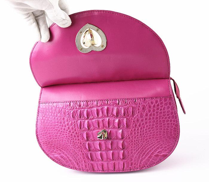 Stylish Crocodile Leather Evening Handbag-Button