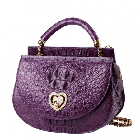 Stylish Crocodile Leather Evening Handbag-Purple