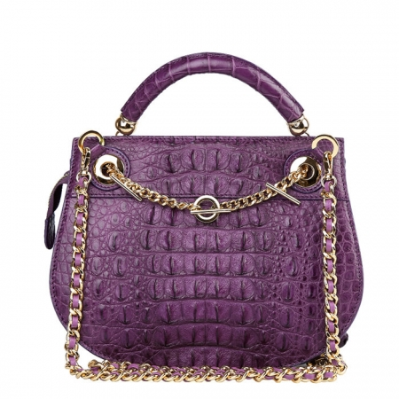Stylish Crocodile Leather Evening Handbag-Purple-Back