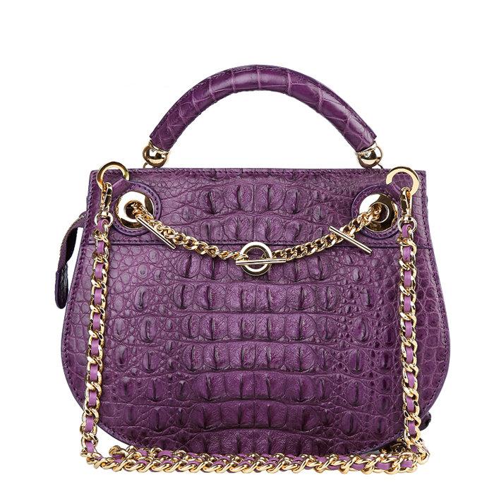 Stylish Crocodile Leather Evening Handbag-Purple-Back