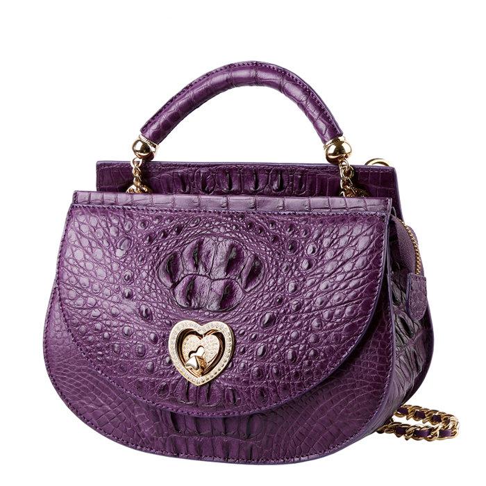 Stylish Crocodile Leather Evening Handbag-Purple