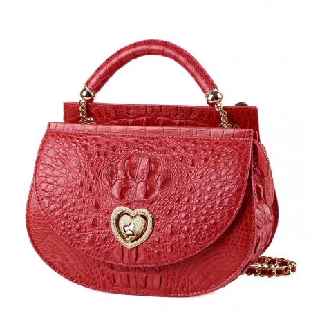 Stylish Crocodile Leather Evening Handbag-Red