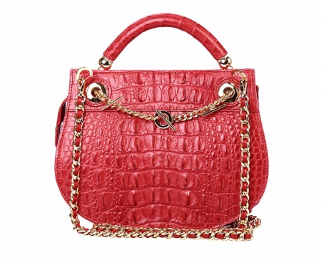 Stylish Crocodile Leather Evening Handbag-Red-Back