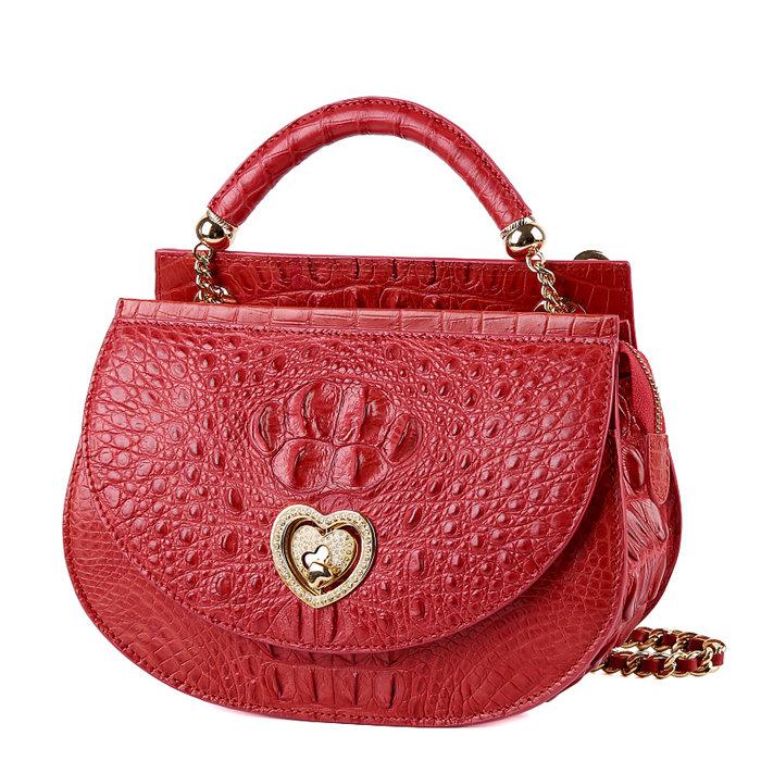 Stylish Crocodile Leather Evening Handbag-Red
