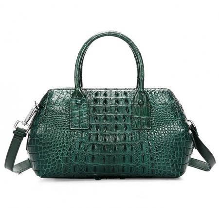 Stylish Crocodile Skin Barrel Bag Green-Back