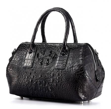 Stylish Crocodile Skin Barrel Bag-Left