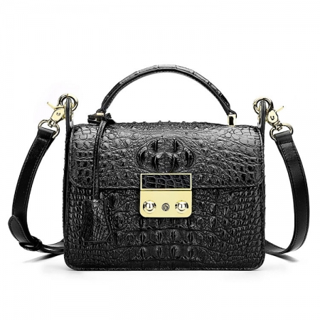 Timeless Crocodile Leather Handbag-Black