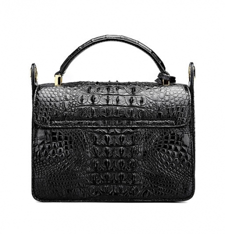 Timeless Crocodile Leather Handbag-Black-Back