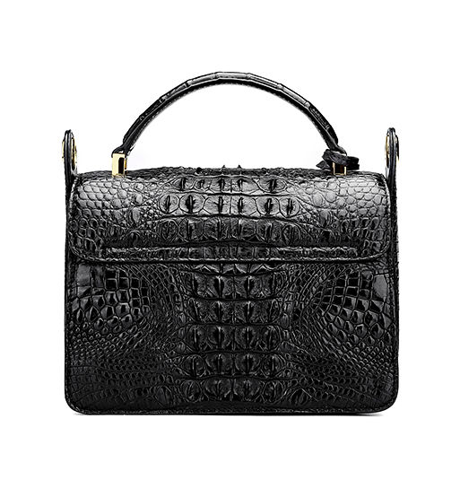 Timeless Crocodile Leather Handbag-Black-Back