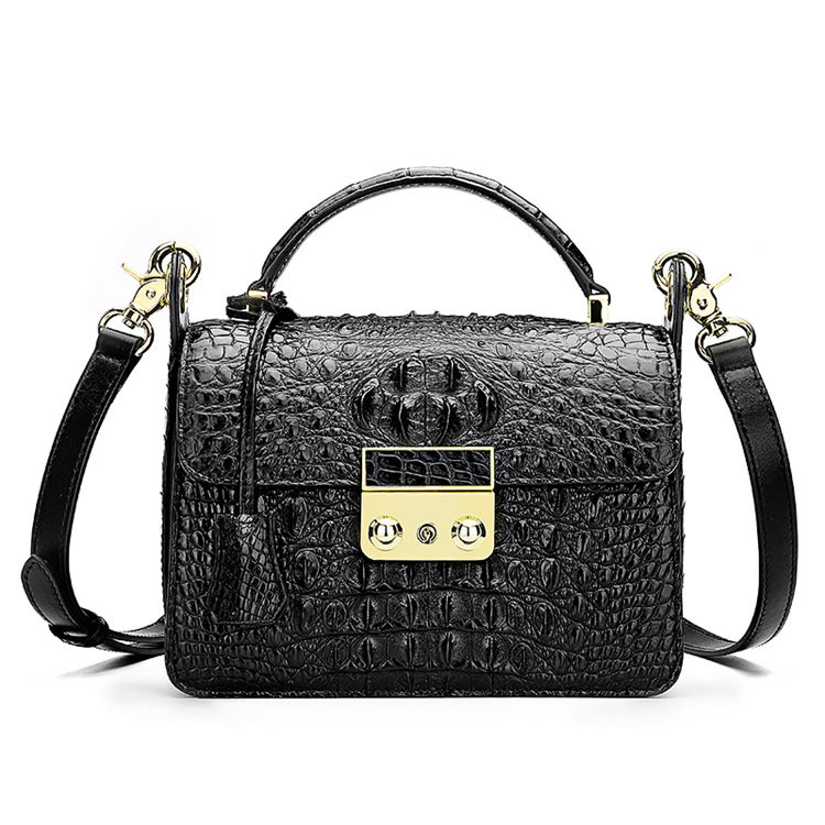 Timeless Crocodile Leather Handbag-Black
