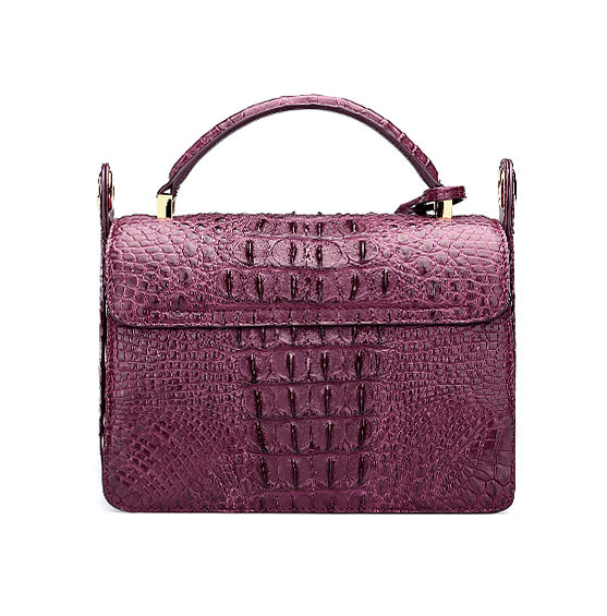 Timeless Crocodile Leather Handbag-Purple-Back