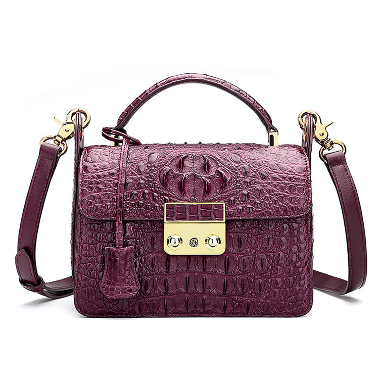 Timeless Crocodile Leather Handbag-Purple