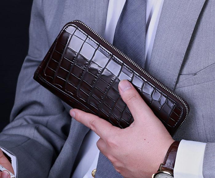 crocodile leather wallet-brown-long